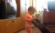 قطة تصارع طفلة على حق احتضان صغيرها