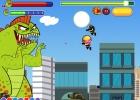 لعبة الديناصور المتحول وتدمير مباني المدينة