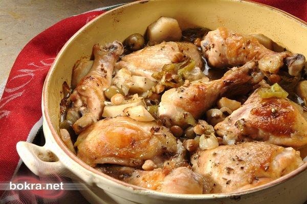 طريقة تحضير فخاد الدجاج الزيتون والحمص والخضروات