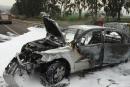 مفرق جولاني: اشتعال سيارة بعد اصطدامها بالحاجز