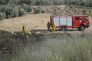 حريق في اراضي زراعية بالقرب من بلدة الرينة