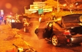 حادث طرق واندلاع النيران بسيارتين