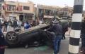 انقلاب سيارة على الشارع الرئيسي بسخنين وإصابة شاب