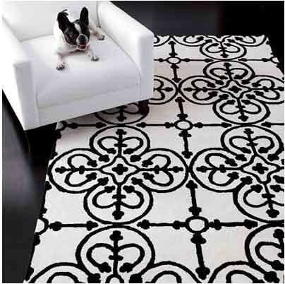 white black rug