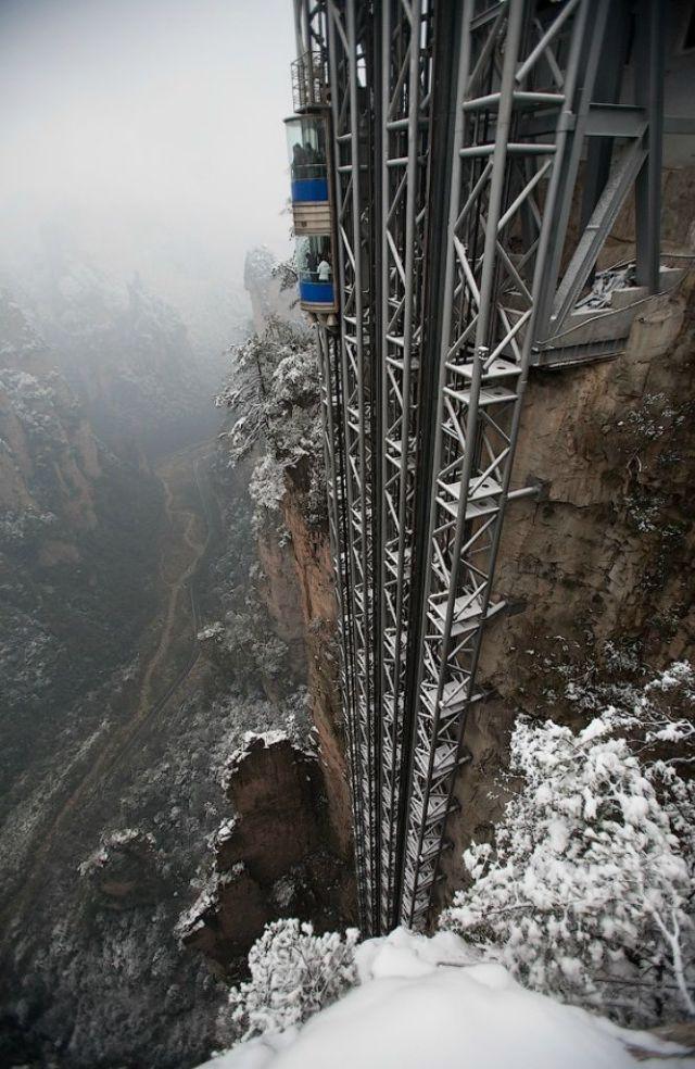 """بايلونغ"" مصعد خارجي معلق الجبال"